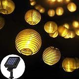 Opard Solar LED Lichterketten Lampions, 6.45M 30 Laterne Solar Lichterkette Aussen IP65 Wasserdicht für Hof, Garten, Balkon, Party, Hochzeit, Außen, Fest Deko