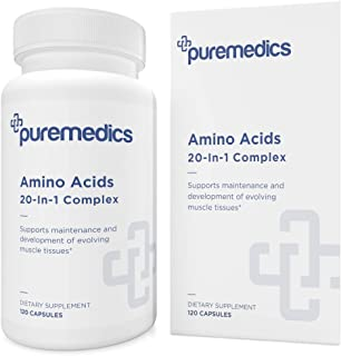 PUREMEDICS Amino Acids Supplement - 20-in-1 Essential Amino Acids with Vitamin B6 to Support Muscle Tissues Development - ...