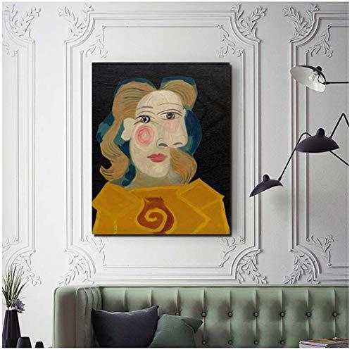 Pablo Picasso HeadA Woman Dora Canvas Living Room Decoración del hogar Modern Wall Art Painting Posters Picture -50x60cm Sin Marco