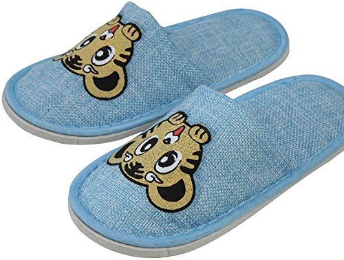 Paquete de Zapatillas de SPA para niños con Punta Cerrada, Zapatillas de Hotel de Playa portátiles de Lino a Granel 100 Pares, Blue_22x9cm / 9x3.5inch