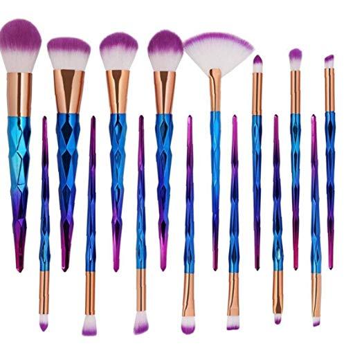 Juego de 12 brochas de ojos para sombra de ojos, delineador de ojos, kit de maquillaje para base, delineador de ojos, colorete rosa y azul