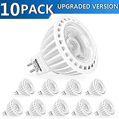 SUNVIE MR16 LED Bulbs Dimmable 50W Halogen Equivalent 7w 3000K Warm White AC/DC 12V Spotlight Bulb for Outdoor Landscape Indoor Flood GU5.3 Base