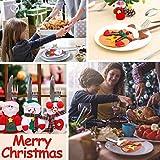 Sunshine smile Weihnachten Bestecktaschen,Geschirrhalter Besteckhalter Weihnachtsmann,Weihnachten Besteckhalter Bestecktasche,Weihnachtsmann Tischdeko,Weihnachten Dekoration Besteck(B, 12 PCS) - 7