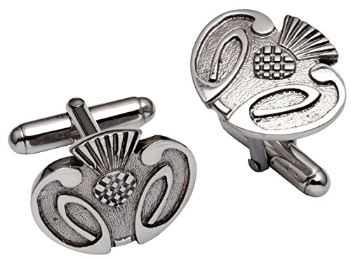 I Luv Ltd Cufflinks in Sterling Silver Stylised Scottish Thistle Relief Design