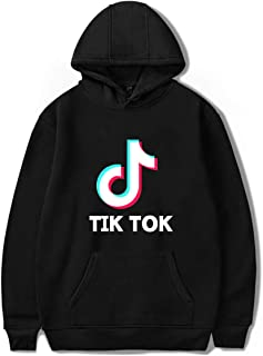 PUUE Fashion TIK TOK Long Sleeve Hoodie Pullover Sweatshirt Jumper for Funs (Black XX-Large)