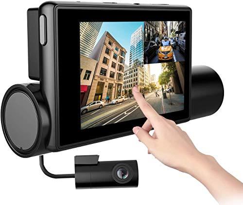 Cámara de Coche Dashcam, 1080P Full HD 170 ° Cámara de Tablero WiFi Dual para Automóviles, Panel Táctil OLED de 3.0 Pulgadas, Visión Nocturna, Grabación en Bucle, G-Sensor, Detección de Movimiento