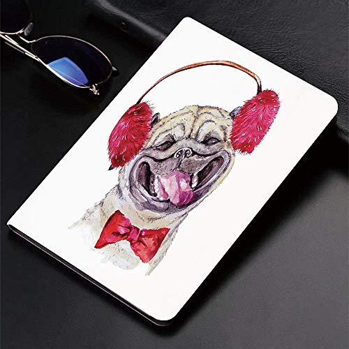 Case for iPad (9.7-Inch, 2018/2017 Model, 6th/5th Generation)Ultra Slim Lightweight Smart Cover,Pug,Watercolor Drawing of Dog with Furry Winter Headphones and a Bow Tie Ha,Smart Covers Auto Wake/Sleep