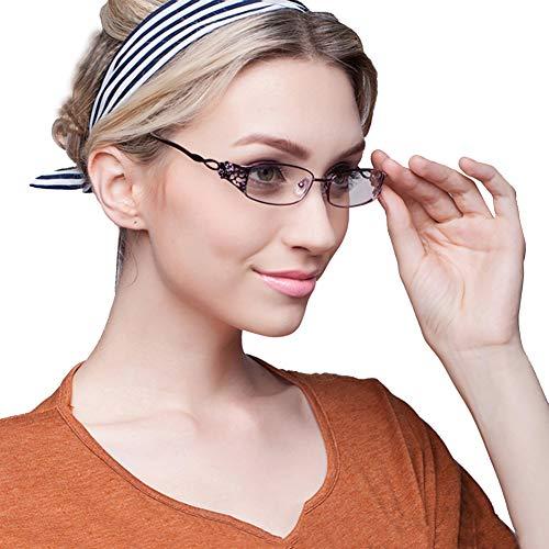 KLESIA レディース 老眼鏡 シニアグラス ブルーライトカット おしゃれ 超軽量 非球面レンズ (3.5, 高貴紫)