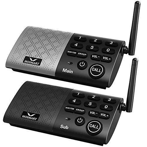 HOSMART Wireless Gegensprechanlagen für Zuhause oder im Büro mit Zwei- und Mehrwege-Anrufe | kristallklarer Sound und über 300m Reichweite(1 Main 1 Sub)