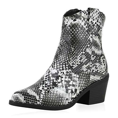 SCARPE VITA Damen Cowboy Boots Leicht Gefütterte Stiefeletten Nieten Cowboystiefel Western Schuhe Animal Print Westernstiefel 185310 Schwarz Weiss Snake 37