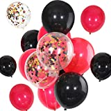 JOVITEC 30 Pieces 12 Inches Latex Balloons Confetti Balloons Metallic Balloons for Wedding Birthday Party Decoration (Black and Red)