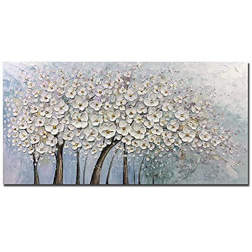 Metuu Oil Paintings, 24x48 Inch Apricot Flower Paintings 3D Abstract Paintings White Lucky Tree Oil Hand Painting On Canvas Wood Inside Framed Ready to Hang Wall Decoration for Living Room