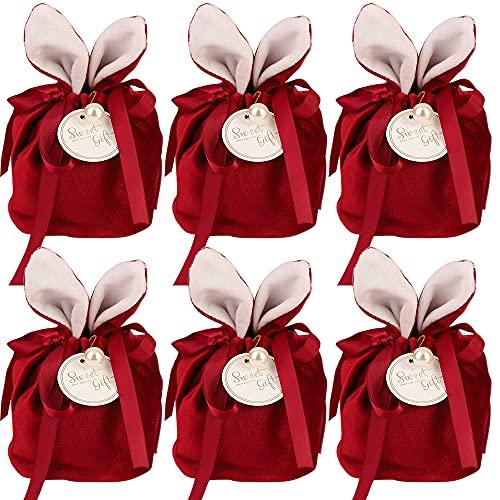 Bolsas de terciopelo, 6 unidades, bolsas de regalo de boda, bolsas para joyas, bolsas de regalo de terciopelo con cordón, para banquetes de fiesta (rojo)