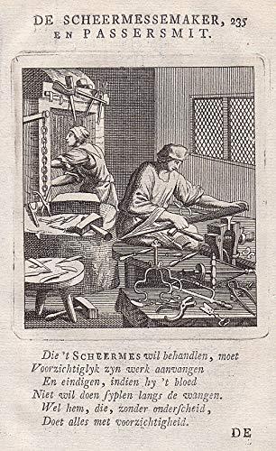 De Scheermessemaker en Passersmit Rasiermesser Herstellung razor blade maker rasieren to shave Beruf profession Handwerk