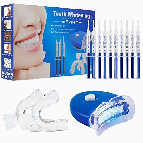 Kit de blanchiment des dents, Home Blanchiment des dents Gel Care avec kit de blanchiment professionnel Dispositif de blanchiment des dents pour dents blanches, y compris 10 pcs Gel de soins dentaires