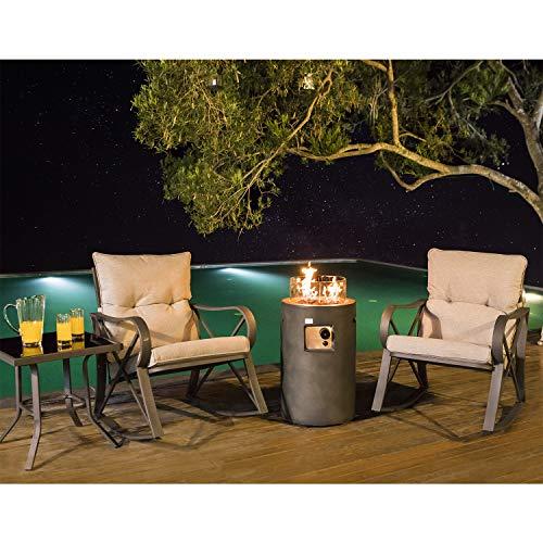 COSIEST 4-Piece Propane Fire Pit Rocking Furniture Bistro Set,Outdoor Garden Furniture Rocking Chair w 16-inch Round Natural Gas Fire Table (40,000 BTU) w Glass Wind Guard for Garden,Pool, Backyard