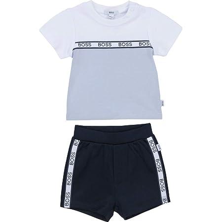Ensemble T-shirt et bermuda BOSS BEBE COUCHE BLEU BLANC 1MOIS