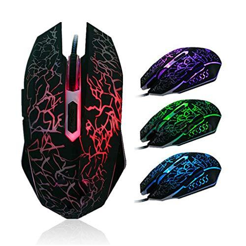 BURAN Gaming-Maus, kabelgebunden, ergonomisch, USB, leuchtend, für Laptop, PC, Computer, Spiele, Arbeit