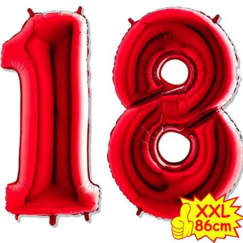 Carpeta XXL-Folienballons * Zahl 18 * in ROT als Deko zum 18. Geburtstag, Party oder Jubiläum | 86cm groß | zum Hängen, Verbinden oder zum Schweben mit Helium | Folienballon Ballons Luftballons