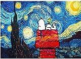HJHJHJ Rompecabezas de 300 Piezas para Adultos Puzzle 3D Rompecabezas clásico de Madera Snoopy Under The Stars Paisaje DIY Coleccionables Decoración Moderna para el hogar