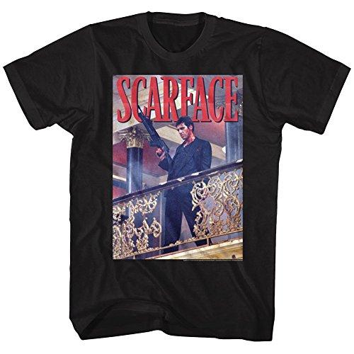 Scarface Railing Shot Black Adult T-Shirt Tee