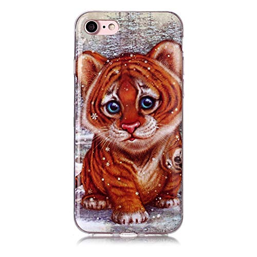 HYcase Estuche para iPhone 6 Plus/6S Plus,Silicona IMD TPU Ultra Fina Fina Pintura [Peso liviano] Transparente Adherencia Antiadherente, Coque Suave-Tigre