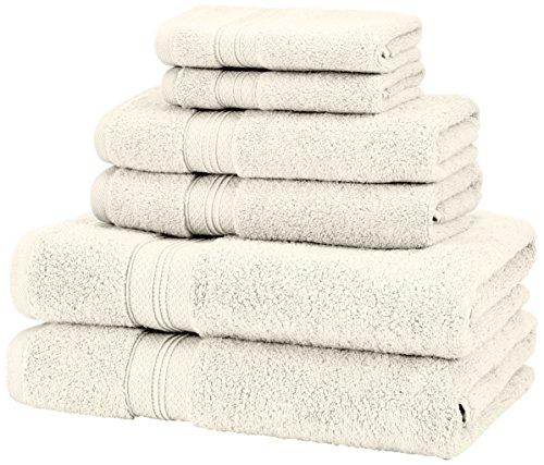Juego de Toallas de algodón Pima, de Pinzon, 650 g (6 Piezas), 100% algodón Felpa algodón, Crema, Juego de 6 Piezas