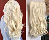 17' 20' 22' 25' Synthetic One Piece Straight Wavy Curly Clip in Ombre Hair Extensions (20Inches Wavy, Platinum Blonde#613)