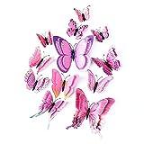 Farfalla artificiale a doppia ali 3D, decorazione di nozze/festa/casa, farfalla di simulazione artigianale, adesivo da parete farfalla misto 6 colori, 12 pezzi (Rosa)