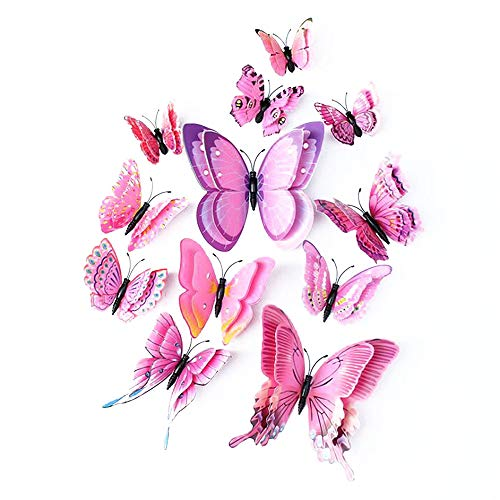 LERT 3D Double Wings Artificial Butterfly, Wedding/Party/Home Decoration, Craft Butterfly, Butterfly Wall Sticker, 12 pcs (Pink)