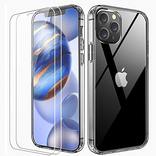 FLOVEME Crystal Clear Compatible with iPhone 12 Case Designed for iPhone 12 Pro Case with 2Pcs Tempered Glass Screen Protector, 360° Full Shockproof Protective Clear Phone Cases Ultra Slim Cover