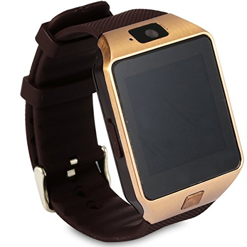 EasySMX dz09 Bluetooth Smart Watch mit SIM Card Slot Telefonieren 2,0 MP Kamera Support Nachricht Benachrichtigung TF Karte Schrittzähler Schlaf Monitor kompatibel mit Android und iOS System (Gold)