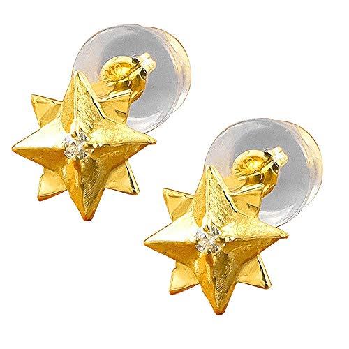 [アトラス] Atrus ピアス レディース 24金 純金 18金 イエローゴー ルドk18 ダイヤモンド 八芒星 スタッドピアス