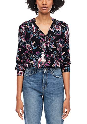 s.Oliver Damen O-Shape-Bluse mit Allover-Print Black AOP 38