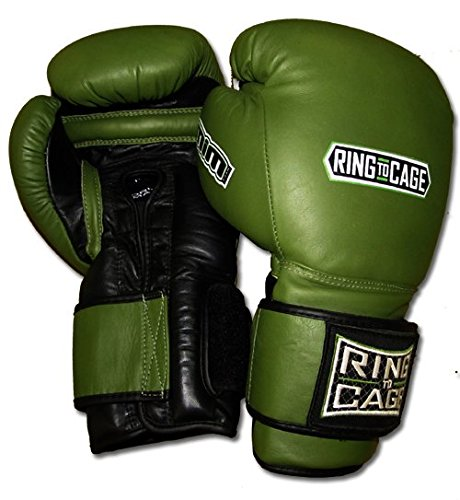 Ring to Cage 34oz and 50oz Deluxe MiM-Foam Sparring Boxing Gloves - Safety Strap for Muay Thai, MMA, Kickboxing, Boxing (RC06SS-Marine Green/Black 50oz)