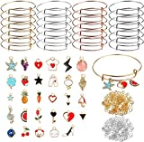 UPINS 20Pcs Expandable Bangle Bracelets Adjustable Wire Blank Bracelets with 30Pcs Gold Enamel Charms, 200Pcs Open Jump Rings for DIY Jewelry Making