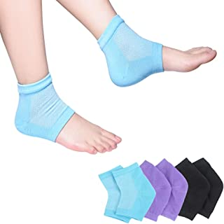Moisturizing Socks, 3 Pairs-Moisturizing/Gel Heel Socks for Dry Cracked Heels, Open Toe Socks, Ventilate Gel Spa Socks to ...