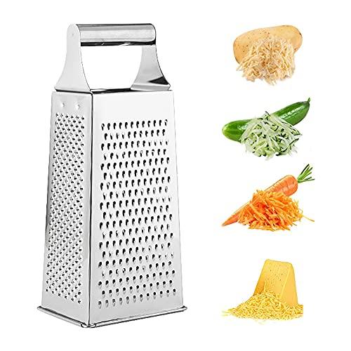 4 Caras Rallador,Rallador Cocina, Hoja de acero inoxidable afilada,Cortadora de Vegetales Para Queso Cítricos Limón Jengibre Ajo Verduras Frutas (Plata)