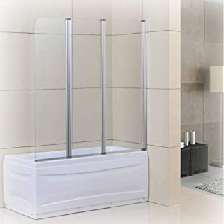 Goodyo Pivot Glass Shower Door 51x55 inch Hinged 3 Folding Semi-frame Bathtub Shower Screen Door 1/6 Tempered Clear Glass