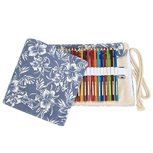 Damero Wrap Leinwand Stifterolle für 48 Buntstifte und Bleistifte Stifteetui Roll-up Mäppchen für Künstler (Blue Flowers, 48 Holes)