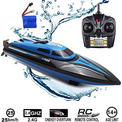 DDT Fernbedienungs Boot,2.4Ghz RC Speedboot Highspeed-Modell Mit Power Motor Und Akku,Top-Design,Mit 180º Flip Funktion,Für Kinder/Erwachsene Pool & Outdoor-Nutzung