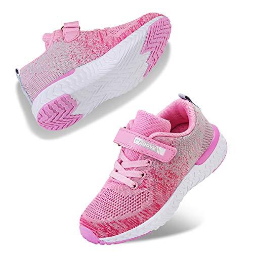 Kyopp Laufschuhe Kinder Turnschuhe für Mädchen Jungen Sportschuhe Kinderschuhe Outdoor Sneakers Klettverschluss Atmungsaktiv Unisex(4#Pink 33EU)