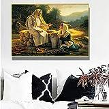 GZCJHP Cuadro sobre lienzo 40 x 60 cm, sin marco, cuadros famosos de Jesús y la samariterina, arte de pared para salón