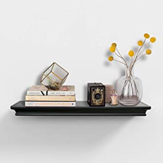 AHDECOR Black Floating Shelves Wall Mounted, Deeper Wall Storage Shelf for Home Décor, Super Sturdy, Easy to Install, 24