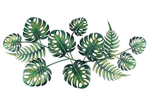 Liffy Metal Green Leaf Arte de la pared Decoración de plantas al aire libre Jardín Escultura decorativa colgante