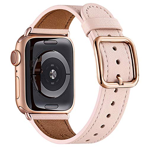 MNBVCXZ Compatible with Apple Watch Band 38mm 40mm 42mm 44mm Women Men Girls Boys Genuine Leather Replacement Strap for iWatch Series 5 4 3 2 1 Sport and Edition (Pink Sand/Rose gold, 38mm 40mm)