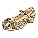 Mädchen Prinzessin Schuhe Für Kinder Gelee Partei Absatz-Schuhe Glitzer Paillette Ballerina Stöckelschuhe Gold 31 EU