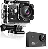4K Action Camera, OnReal Full HD Wi-Fi 12MP Waterproof Cam 2' LCD 30M Underwater 170°Wide-Angle Sports Camera with Mounting Accessory Kits