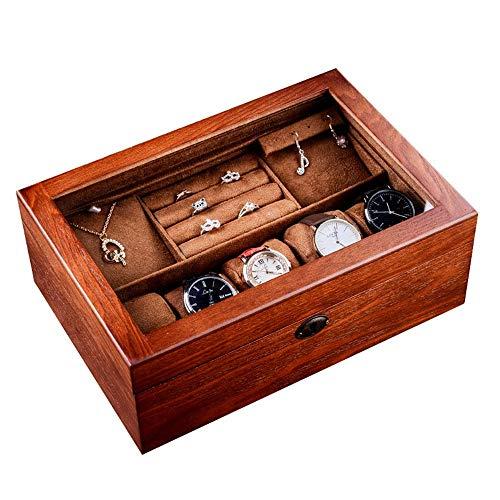 yaunli Caja de Reloj Madera Reloj de la joyería Caja de Cristal con la Cerradura de Madera Caja de Doble Caja de Almacenamiento Caja de Almacenamiento de Reloj (Color : Marrón, Size : One Size)