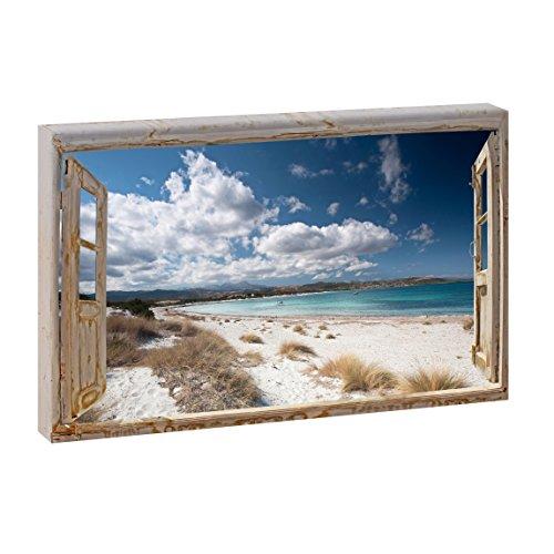 Fensterblick Endloser Strand | Panoramabild im XXL Format | Kunstdruck auf Leinwand | Wandbild | Poster | Fotografie (120 cm x 80 cm | Querformat, Farbig)